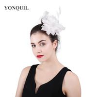 ingrosso clip di capelli del fiore bianco della piuma-clip di capelli del fiore della piuma bianca Chiesa Fascinator Accessorio per capelli delle donne Fascia fiore Fascinators Female Head Headwear SYF440