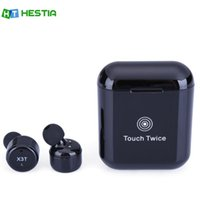 Wholesale Iphone Inear - HESTIA X3T Bluetooth Earphones Wireless Mini Headsets With Microphone inear for Sport Charging Box For iPhone Android PK X2T X1T