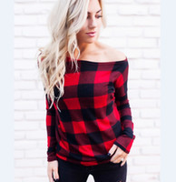 Wholesale off shoulder shirts wholesale - Women Off Shoulder Plaid Tops Long Sleeve summer Shirt Casual Blouse Loose T-shirt Red Buffalo Checkered print designer t Shirts DHL ship