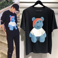 Wholesale Luxury Bear - 2017 Europe Fashion High Quality Summer Box logo Skateboard Bear doll print T-shirt Top Men Women Street Luxury Cotton T Shirt Casual Tee
