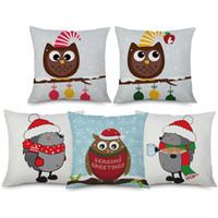 Wholesale owl party lights resale online - Christmas Festival Cushion Cover Merry Christmas Santa Claus Tree Owl Hedgehog Party Home Decorative Linen Pillow Case Bedroom Decor