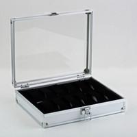 профессиональное хранение ювелирных изделий оптовых-OUTAD Professional 12 Grids Watch Box Jewelry Display Storage Square Case Aluminium Suede Inside Container Watch Case Gift