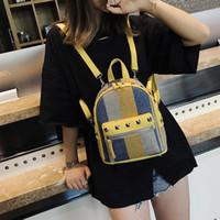 Wholesale korean small backpack for sale - 2018 Girls Diamond Rivet Stripe Canvas Backpack Mini Travel Leisure Small Backpacks Women Fashion Shoulder Bags Korean Style