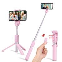 iphone штатив оптовых-S-Mart Новый Selfie Stick Штатив Держатель 2-в-1 Bluetooth для Беспроводной Выдвижной Сложной Селфи для Iphone 9 X Samsung Galaxy Смартфонов