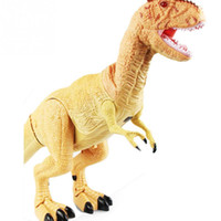 игрушки для мальчиков оптовых-Remote Control Tyrannosaurus RC Walking Dinosaur ABS Plastic Toy with Shaking Head Light Up Eyes and Sounds Yellow Green
