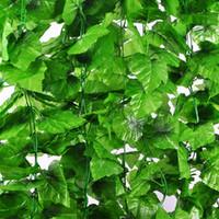 künstliche reben großhandel-künstliche Pflanze Weinrebe künstliche Rebe grünes Blatt Ivy hängen Pflanzen für die Dekoration im Freien