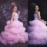 vestido de conto de fadas das meninas venda por atacado-2018 conto de fadas da menina de flor da criança vestidos de luxo contas de pérolas arco 3d floral personalizado macio nuvem camadas de tule meninas pageant vestidos