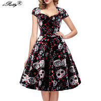 ingrosso più pin up-iPretty Elegante Skull Print Dress Donna Vintage 50s 60s Square Collar Wrapped Chest Plus Size 4XL Swing Rockabilly Pin Up Dress