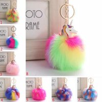 Wholesale artificial chain pendant for sale - Group buy Fluffy Metal Alloy Unicorn Pom Keychain Pendant Cute Pompom Artificial Rabbit Fur ball Key Chain Bag Car Key Ring Hang Bag cm
