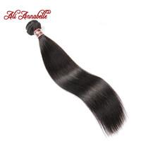 ali cabello humano al por mayor-ALI ANNABELLE HAIR Brasileño Recto Cabello Humano 100% Remy Paquetes de armadura Natural Negro 10