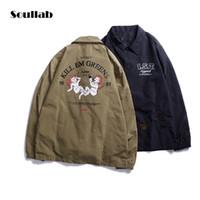 ingrosso disegni coreani di top di moda-soullab 2017 autunno inverno uomo top 3d cartoon stampa Cappotti giacca trench dj cappotto hip hop design coreano moda casual panno di marca