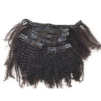 Wholesale clips for human hair online - Mongolian Afro Kinky Curly Virgin Hair African American Clip In Human Hair Extensions For Black Women