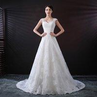 свадебные платья оптовых-Реальные фото старинные кружева свадебные платья Fit и Flare линии мыс рукава пуговицы страна свадебные платья