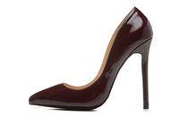 ingrosso tacchi a punta di bordeaux-Scarpe in pelle specchiata europea sexy bordeaux scarpe tacco alto vino rosso punta appuntita scarpe chic scarpe da donna drophip