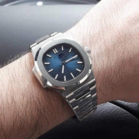 Wholesale man moon watch - Luxury Mens Watch Nautilus PP Sky moon Automatic Mechanical Stainless Steel Transparent Back Blue Dial Men Watches Male Wrist watch