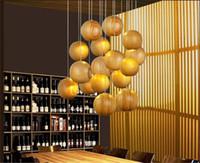 Wholesale japanese led lights - Beautiful Solid wood chandelier modern Chinese Japanese Nordic creative minimalist living room dining three single-head wood wooden lamp