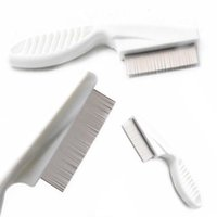 Wholesale kids hair combs online - Metal Nit Head Hair Lice Comb Fine Toothed Flea Flee with Handle Comb for Kids Pet Tools