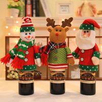christmas decor cerveja venda por atacado-Ano novo presente de natal vinho tinto sacos de tampa de garrafa de cerveja boneco de neve santa alce decoração de natal para casa xmas decoração do natal suprimentos