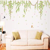 vinyl-gehäuse aufkleber großhandel-BIG Green Blätter Pink Flowers Birds Aufkleber Vinyl Wandaufkleber PVC Dekor Abnehmbare DIY Home Art Tapete Zimmer Haus Aufkleber