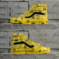 Wholesale golf cut - 2018 Vans x Peanuts SK8-Hi Reissue mens high cut canvas Casual shoes Yellow shoe graphic design Leather stripe US 7.5-10.5