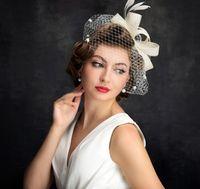 d7029cf35837b Face Veil Hats for Women Bridal Feathers Fascinators Wedding Hats 2018  Newly Linen Tulle Women Party Hair Accessories Hats European