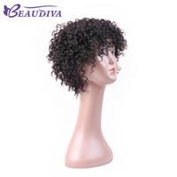 натуральные завитые парики оптовых-Beaudiva Kinky curl натуральный цвет парик с короткими волосами