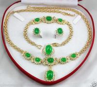 anel de ouro amarelo jade venda por atacado-Jóias das mulheres verde jade amarelo ouro Brinco Pulseira Colar Anel + caixa