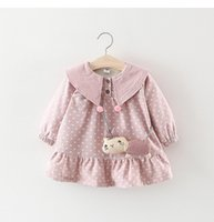 Wholesale cat clothing line for sale - girl clothing boutique dress long sleeves round collar Polka Dots cat Design velvet warm princess dress fall winter girls elegant dresses