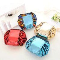 Wholesale Wall Pouch Storage - 4 Colors Sequin Lazy Cosmetic Bag Makeup Pouch Portable Drawstring Large Capacity Multifunction Travel Organizer Storage Bag CCA9070 50pcs