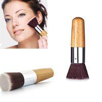 Wholesale fashion bamboo handles for sale - Group buy 120Pcs Fashion Beauty Flat Buffer Foundation Powder Blusher Face Brush Cosmetic Basic Tool Bamboo Handle Makeup Tools EMS DHL B01004