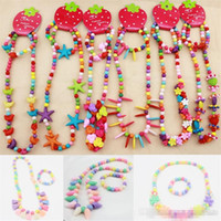 Wholesale candy color bead necklaces - 10 Styles Candy Color Beads Children Jewelry Set Girl Kids Baby Acrylic Beads Flowers Bracelet Necklace Set gifts girls accessories K0213