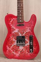Wholesale custom shop maple fingerboard for sale - Custom Shop Tele caster Vintage Pink Paisley Electric Guitar Dark Maple Neck Rosewood Fingerboard Black Dot Inlay James Burton Signed