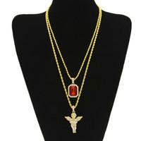conjuntos de collares de rubíes al por mayor-Mens Iced Out Ruby Necklace Set Marca Micro Ruby, Ángel, Jesús, ala colgante, Hip Hop, collar, joyería masculina, regalo, venta al por mayor