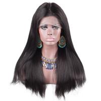 insan dantel peruk malezya toptan satış-Malezya Hint saç işlenmemiş bakire remy İnsan saç kadınlar için doğal düz üst doğal renk tam dantel peruk