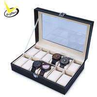 шкафчик для наручных часов оптовых-2017 высокое качество искусственная кожа 12 слотов наручные часы дисплей Box держатель для хранения организатор часы дело ювелирные изделия Dispay Box