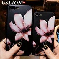 3d белый цветной телефон оптовых-2018USLION мода 3D Белый цветок краска телефон Case для iPhone 7 старинные мягкие TPU задняя крышка Cases Коке для iPhone7 8 6 6 S Plus