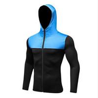 medias de musculación jersey al por mayor-Yuerlian Cap Hoodie Jersey de fútbol Compression Fitness Tight Rashgard Camiseta Gym Bodybuilding Sportswear Hombre Running Jacket
