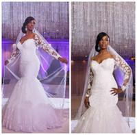 cheap wedding dresses großhandel-African Off-Shoulder Long Sleeves Spitze Fischschwanz Rock Appliques Lace Nach Maß Meerjungfrau Brautkleider Günstige Plus Size Brautkleid