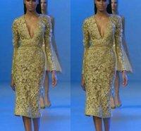 tiefe v halskleid reich taille groihandel-Tee Länge Promi Abendkleider Tiefem V-ausschnitt Langarm mit Reich Taille Sexy Cocktail Prom Afrikanische Party Kleid BA7236