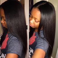 düz yaki insan saç perukları toptan satış-Yaki U Parçası Peruk Bakire Saç Tutkalsız Brezilyalı Işlenmemiş Remy Işık Yaki Düz Upart İnsan Saç Peruk Siyah Kadınlar Için