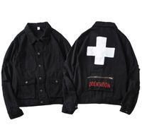 мужская одежда оптовых-Мужская джинсовая куртка мода подкладка верхняя одежда уличный стиль мужские куртки хип-хоп одежда для весны и осени
