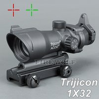 Wholesale rifle scopes mounts - Trijicon ACOG 1X32 Telescopic Sight Red Green Dot Laser Sight 20mm Mounts Scope Sight for hunting