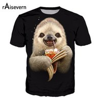 camisa de café divertida al por mayor-Raisevern 3D T Shirt Divertido Sloth Drink Coffee HD Impreso Harajuku Black Tee Tops Manga Corta Hombres Mujeres Camisetas Unisex Dropship