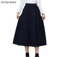 Wholesale Wool Skirts Vintage - High Waisted Woolen Skirts Womens Winter 2017 Fashion Navy Blue Wool Pleated Skirt Ladies Casual Warm Mid-Long Vintage Skirt