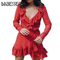 Wholesale Women Red Polka Dot Dress - Summer Dresses Women Vestidos Sexy Chiffon Deep V Neck Long Sleeve Polka Dot Ruffle Mini Dress Beach Dresses Tunic Party Dress