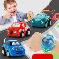 Wholesale esc for car - Smart Wrist Watch Remote Control Car Children Mini Cartoon Gravity Sensor Automobile Watch Cars RC Toys For Children 42zt WW