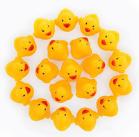 Wholesale Duck Racing - 2018 Baby Bath Toy Sound Rattle Children Infant Mini Rubber Duck Swimming Bathe Gifts Race Squeaky Duck Swimming Pool Fun Playing free ship