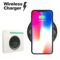 Wholesale Diamond Wireless Usb - Slim Diamond Wireless Fast Qi Charger with LED Light USB Cable For iPhone X 8 Plus Samsung S8 Plus Note 8 S7 S6 with Retail Package