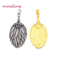 Wholesale mascot accessories halloween - Pendants Necklace Chain Stainless Steel Feather fan Jewelry for Women Men Mascot Totem Charms Healing Chakra Amulet Fashion Accessories