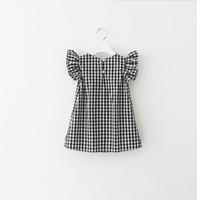 Wholesale european princess clothes for sale - Baby girls lattice dress fly sleeve Plaid Princess dresses summer Boutique Kids Clothing C4110